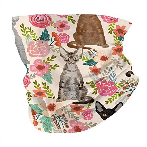Bandana máscara facial Devon Rex de razas de gatos con flores de raza de mascotas, pasamontañas crema para exteriores, a prueba de polvo, resistente al viento, multifuncional, para hombres y mujeres