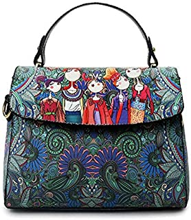 Fashion Single-Shoulder Bags Leisure Fashion Creative Printing Design Slant Shoulder Bag Handbag (Green) (Color : Green)