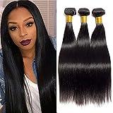 Feibin Tissage bresilien court en lot pas cher Tissage Cheveux humain naturels meches Bresiliennes lisse extension Cheveux 10 10 10 pouces Straight Hair Bundles