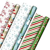 Hallmark Reversible Christmas Wrapping Paper (3 Rolls: 120 sq. ft. ttl) Rustic Santa, Papercraft Snowmen, Candy Canes, Stripes, Snowflakes, 'Merry Christmas to You'