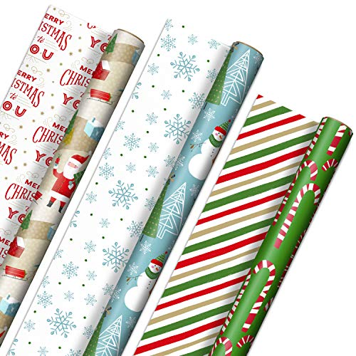 "Hallmark Reversible Christmas Wrapping Paper (3 Rolls: 120 sq. ft. ttl) Rustic Santa, Papercraft Snowmen, Candy Canes, Stripes, Snowflakes, ""Merry Christmas to You"""