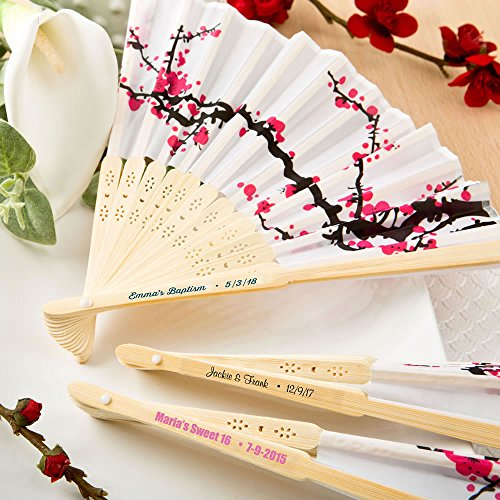 Fashioncraft Personalized Labels with Cherry Blossom Silk Folding Wedding Fans, 40