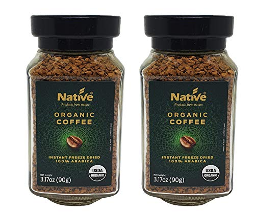 Native Organic Instant Freeze Dried Coffee, 3.17 Oz (Pack Of 2)