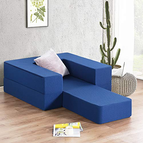 Olee Sleep 8 Inch I Gel Foam Mattress and Floor Sofa - 2,Single Bed,OL08TM02T-2, Dark Blue