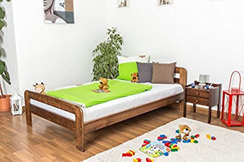 Kinderbett   Jugendbett Kiefer Vollholz massiv Nussfarben A6, inkl. Lattenrost - Abmessung 120 x 200 cm