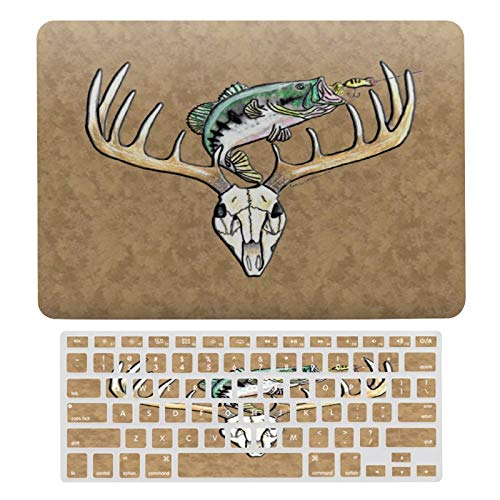 MacBook Air 13 Inch Case A1466, A1369, Hard Shell & Keyboard Case Cover for Apple Mac Air 13, Fishing Hunting Laptop Protective Shell Set