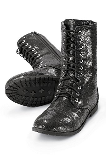 Balera Boots Girls Shoes for Dance Womens Combat Boots with Glitter and Zipper Rubber Sole Shoes Black