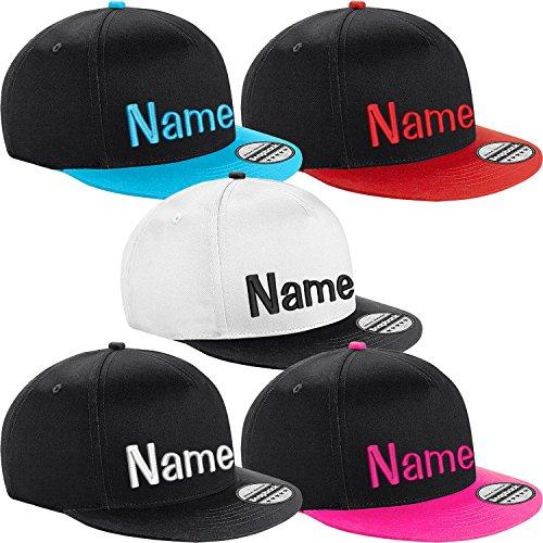 Nashville print factory Kinder Snapback Cap Bestickt mit Namen Wunschtext Stickerei Mütze Basecap Youth Kids (Black/Black)