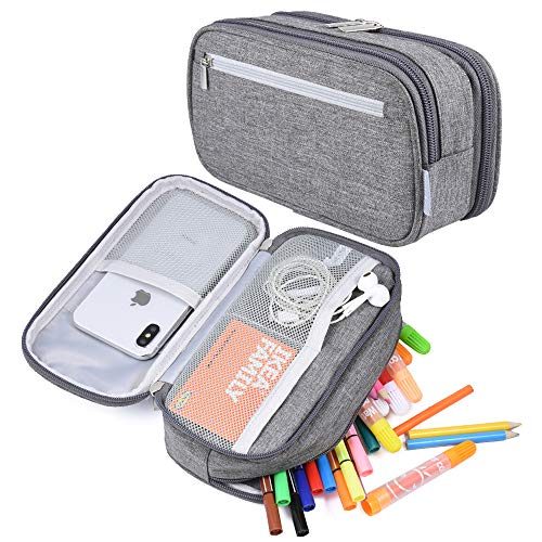 Big Capacity Pencil Case Pen Case Pencil Bag Pouch Pencil Holder Marker Stationery Desk Organizer Pencil Cases with Large Storage Compartment for Middle High School College & Office Supplies, Gray
