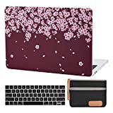 MacBook Pro 13 Inch Case Laptop Plastic Hard Case Flower MacBook Pro 13 Inch A2159 A1706 A1708 A1989 Keyboard Cover Travelling Electronics Accessories Organizer Small Bag (Peach Blossom-Burgundy)