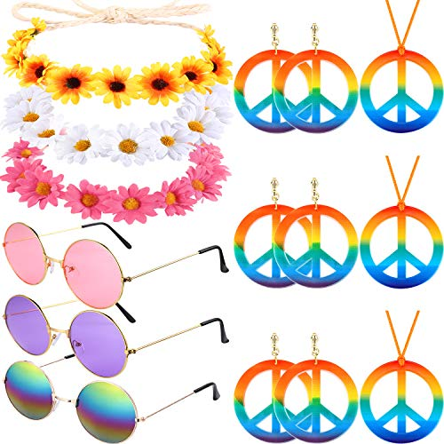 12 Pieces Hippie Costume Set, Includes 3 Pieces Flower Crown Headband, 3 Pieces Hippie Sunglasses, 3 Pieces Peace Sign Necklace and 3 Pairs Rainbow Peace Earrings for 60s 70s Dressing Accessory