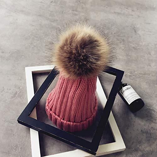 mlpnko Hut weibliche Wilde Haare Ball Wolle Hut Mode Dicke warme Strickmütze Eltern-Kind-Hut Haut Pulver Erwachsene Modelle 13cm Ball