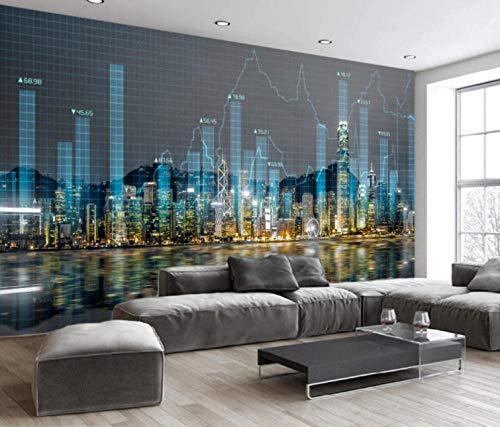 Fotobehang driedimensionale stadsafbeelding Moderne wandafbeeldingen 3D vliesbehang voor woonkamer slaapkamer kantoor hal decoratie poster 250x175cm