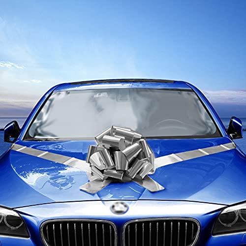Vindar Car Bow Riesige Auto Ribbon Bow Geschenkverpackung Bogen für Auto Dekor Hochzeitsdekoration und Party (Silber)