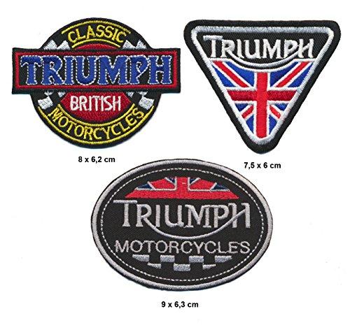 Triumph parche para planchar Patch 3pieza motocicleta Biker England Turbo Envío