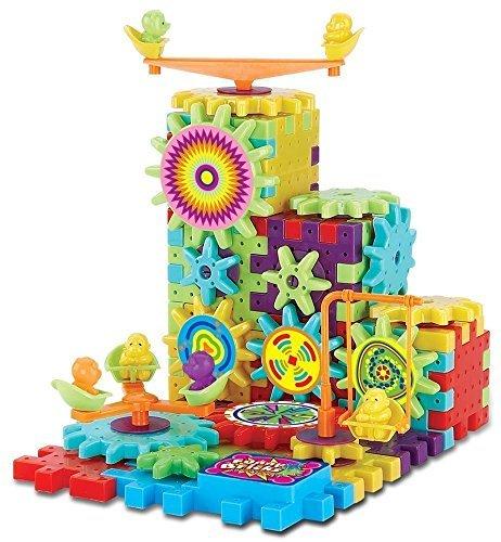 OFKPO 81 Pièces de Blocs de Construction DIY Roue Dentée Puzzle 3D Motorisé Jeu de Construction Briques en Plastique Jouets Educatifs pour Enfants Cadeaux