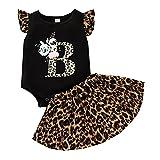 ChYoung 2 UNIDS Newborn Baby Girl Letra Imprimir Romper Sumpsuit Body + Leopard Faldas Setfit Set