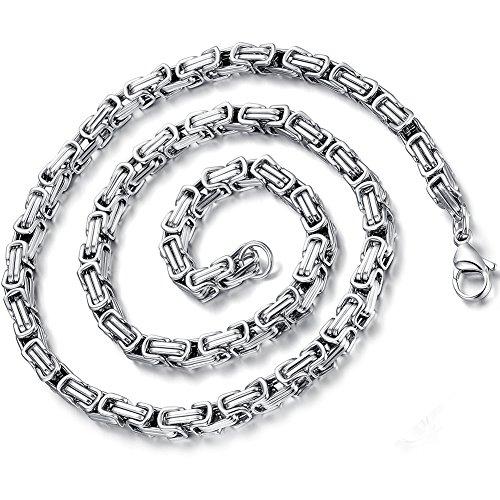Flongo Herrenkette Männer-Kette, 5mm Breit Edelstahl Halskette Königskette Kette Gold Silber 55cm Herrschsüchtig Rau Punk Rock Herren Männer