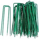 50 Clavijas de Jardín, 6 Pulgadas U Clavijas de Seguridad Pins, Grapas de Acero Galvanizado, Estacas de Tierra para Asegurar la Tela de Malezas