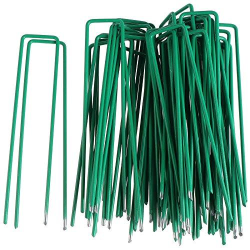 Color 50 clavijas de jardín, 6 pulgadas U clavijas de seguridad Pins, grapas de acero galvanizado, estacas de tierra para asegurar la tela de malezas,