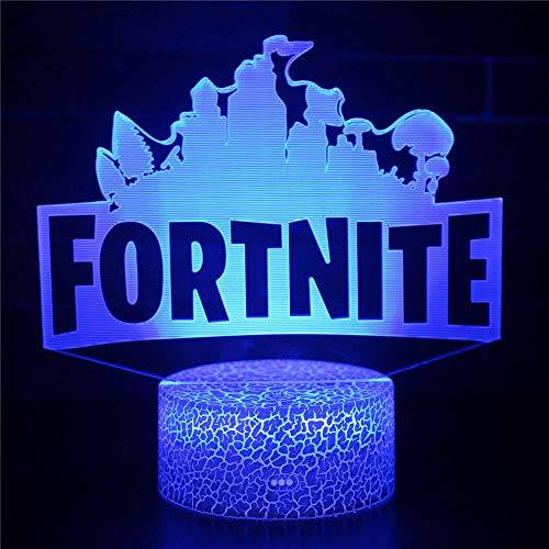 3D Illusion Lamp Christmas Gift Night Light Bedside Table Lamp, 16-Color Dimmable with Remote Smart Touch,Christmas and Birthday Gifts for Boys and Kids FORTNITE