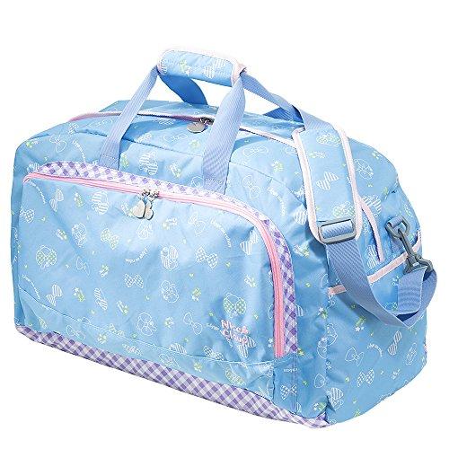 ナイスクラップ NICE CLAUP ボストンバッグ NC329 42L クマ&リボン 旅行 かばん 鞄 修学旅行 林間学校 かわいい ジュニア キッズ 子供 子ども レディース (ブルー)