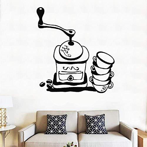 Wandaufkleber, Vinyl, Zitat Moulin CAF et Tasses Pour Cuisine De CAF Kaffeemühle und Tassen für Café, Küche, Schlauch, Dekoration, Geschenkidee, 20,8 x 18,8 cm