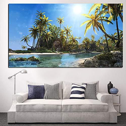 wZUN Sol árbol de Coco Paisaje Marino Imagen de Paisaje Pintura HD impresión en Lienzo Arte Mural Moderno Cartel Sala de Estar 50x100 cm