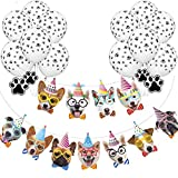 GuassLee Dog Birthday Banner Paw Balloons Party Kit - 2PCS Dog Face Birthday Garland & 20PCS Dog Paw Print Balloons for Dog Puppy Birthday Theme Party Decoration Party Supplies