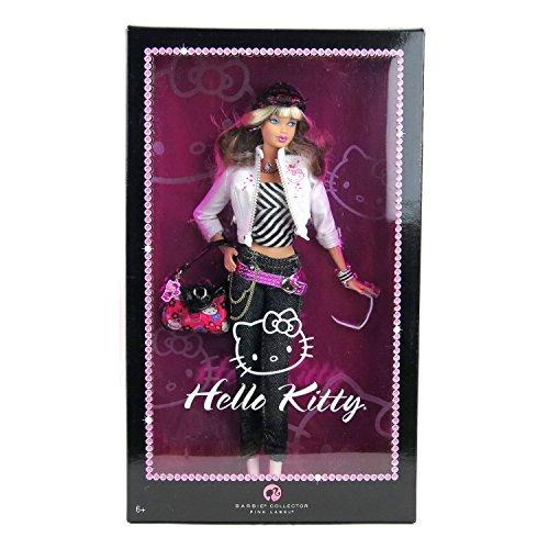 Mattel Year 2007 Barbie Pink Label Collector Series Muñeca de 12 pulgadas – Hello Kitty Barbie con chaqueta, sombrero, collar, bolso, gafas de sol, pulsera y soporte para muñeca