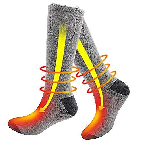 DZX Chaussettes Chauffantes électriques/Chaussettes Thermiques Confortables - pour Les Sports De Plein Air en Hiver, Le Travail Et Le Ski (Unisexe)