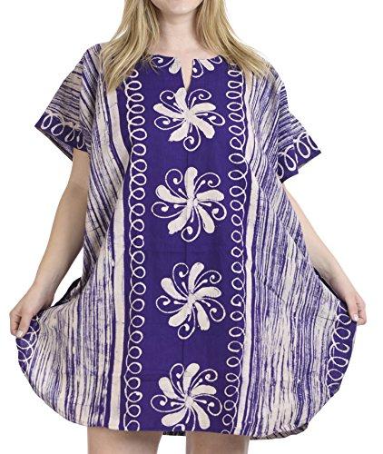 LA LEELA algodón Hecho a Mano Puro del Batik túnica Superior Vestido de Noche del Bikini Boho Kimono Traje de baño Ocasional Encubrir Loungewear Ropa de Playa Corto caftán púrpura