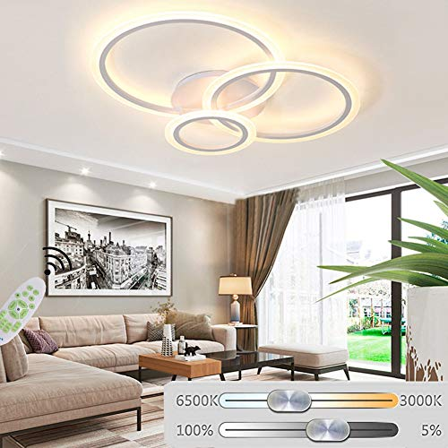 Modern Design Chic Wohnzimmerlampe LED Deckenleuchte 3 Ring Dimmbar 3000K-6500K Fernbedienung Lichtfarbe/Helligkeit Deckenlampe Metall Acryl Schlafzimmer Esszimmer Flur Decke Deko Lampe