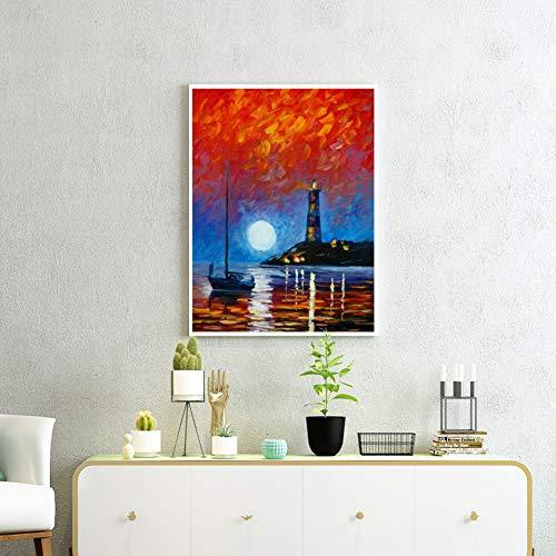 GASFG rode wolkennachtscène-collectie schilderen-muurstickers plakfolie kunst-afbeelding op frameloze woonkamerhuisdecoratie van het canvas 64 x 80 cm.