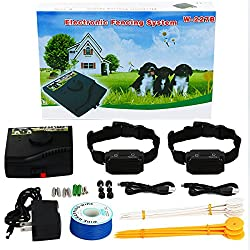 Underground Dog Fence Wired Containment System - Customizable 1000 Ft Wire DIY Kit for Multiple Dogs with Waterproof Static Shock Collar - Safe/Harmless Outdoor Pet Perimeter Hidden Electric Fence