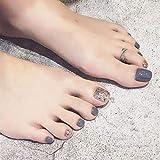 Yean uñas postizas cortas pies falsos uñas gris brillante cristal plata moda cubierta completa uñas artificiales para uñas y uñas para mujeres y niñas