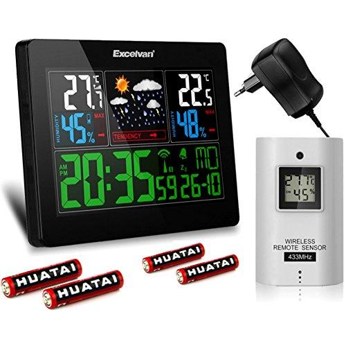 Funk Wetterstation mit Farbdisplay, Funkuhr, Prognose, Wecker und Batterien -- inkl. Hygrometer Wetterstationen Mit Vorhersage Temperatur Luftfeuchtigkeit Innen- und Außensensor