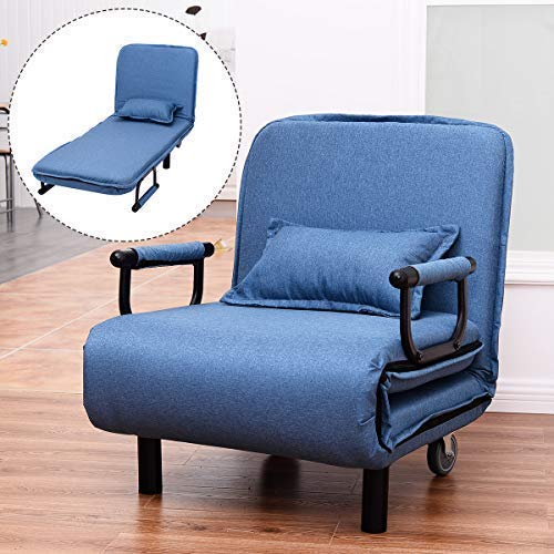 COSTWAY Single Folding Sofa Bed Chair Modern Fabric Sleep Function Holder with Pillow & Wheel for Home Bedroom Living Room Office Indoor (Blue)