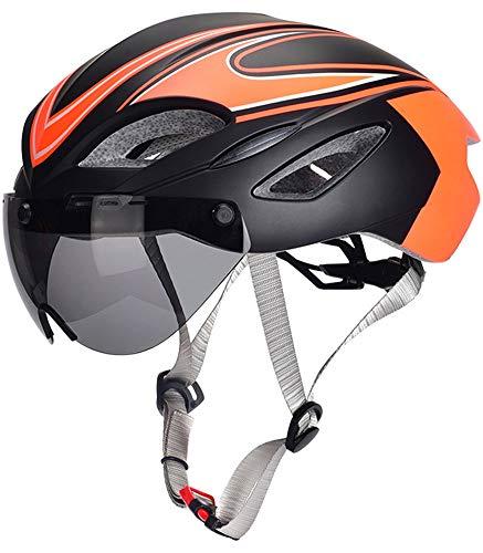YJIUJIU Casco Bicicleta Adulto 58-63cm con Visera Ajustable Ajustable Casco Bici Ligero MTB Mountain Road Bici Casco De Ciclismo para Hombres Mujeres Road Ciclismo De Montaña,Naranja
