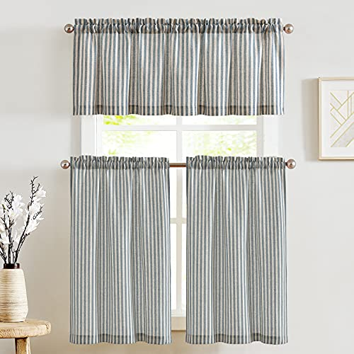 JINCHAN Kitchen Curtains and Valances Set Tier Curtains Striped Linen Curtains Cafe Curtains 24 Inch Living Room Bedroom Bathroom Farmhouse Rustic Country Curtains 3 Piece Set Rod Pocket Blue on Beige
