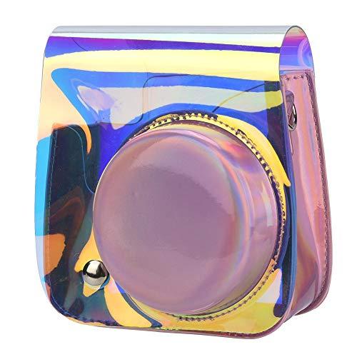 Beschermende en draagbare hoes voor Fuji Instax mini 8/8+/9, PVC + PU lederen afneembare hoes en met schouderriem