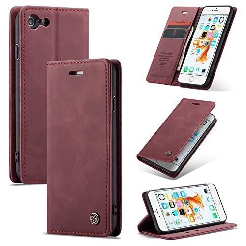 AKC Funda Compatible para iPhone 6/6s Carcasa con Flip Case Cover Cuero Magnético Plegable Carter Soporte Prueba de Golpes Caso-Vino Rojo
