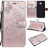 nancencen Handyhülle Kompatibel mit Samsung Galaxy J4 Core,Geldbörse PU Leder Flip Cover Schutzhülle Hülle Klapphalterungsfunktion -Einfarbig Schmetterling Roségold
