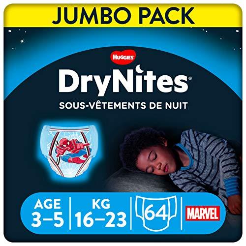 Huggies DryNites, Sous-vêtements de nuit absorbants jetables, Pour garçons, Taille: 3-5 ans, 64 culottes