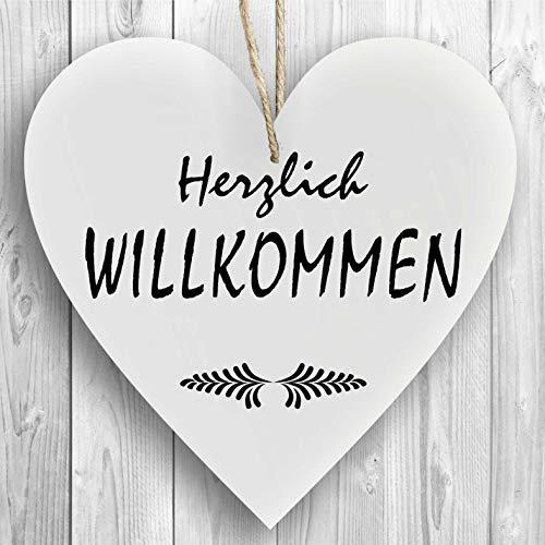 Herzschild Holzherz Holzschild 16 x 16 cm Herzlich Willkommen weiß Dekoschild Wandschild Schild Holz Geschenk
