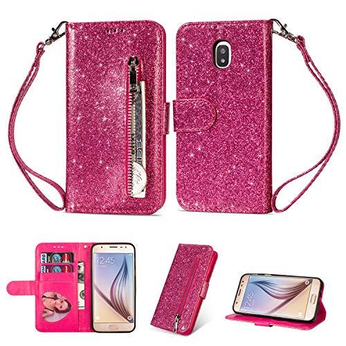 Artfeel Reißverschluss Brieftasche Hülle für Samsung Galaxy J5 2017/J530, Bling Glitzer Leder Handyhülle mit Kartenhalter,Flip Magnetverschluss Stand Schutzhülle mit Tasche und Handschlaufe-Rose Rot