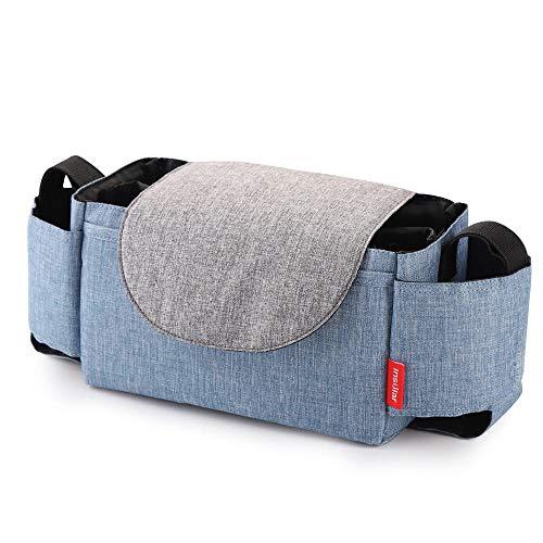 Organizer per passeggino con passeggino, grande capacità per accessori per bambini con 2 portabicchieri e tracolla usati come borsetta-universale per tutti i modelli di passeggini-Denim blu