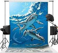 男の子の誕生日パーティーの背景写真7x10FTシャークイルカの装飾写真の背景のための新しい水中世界の背景スタンドパーティー壁紙部屋壁画小道具ソフトコットンMSDLS367