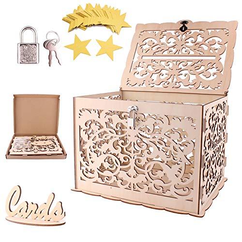 [Aggiorna Versione/Stabile] Scatola di carte di nozze in legno con serratura,Wisolt DIY wedding card box della scatola di carta regalo fai da te salvadanaio per docce bambino, compleanni, lauree