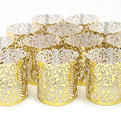 Frux Home and Yard Votive Candle Holders - Flameless Tea Light Votive Wraps - 48 Gold Colored Laser Cut Decorative Wraps Flickering LED Battery Tealight Candles (not Included)